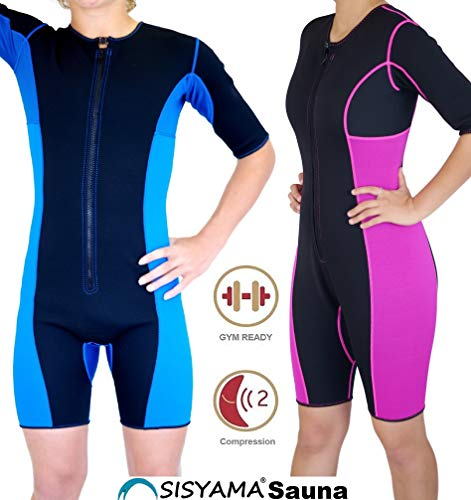 SISYAMA Neoprene Sauna Sweat Workout Hot Wet Suit Unisex Weight Loss (Slim Fit, Large)