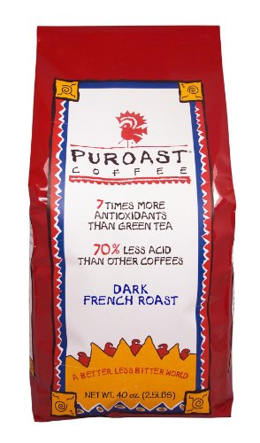 Puroast Low Acid Whole Bean Coffee, French Roast, High Antioxidant, 2.5 Pound Bag