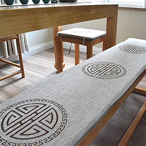 Cojín largo de lino para taburete, bordado japonés sin deslizamiento, cojín impermeable de color sólido con cremallera gris 35 x 40 cm (color: gris, tamaño: 30 x 80 cm)