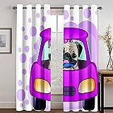 Epinki Cortinas para Ventanas Dormitorio Coche de Conducción Perro Pug Púrpura Blanco Cortinas Poliester, Disponible en 21 Tamaños, Talla 274x115CM