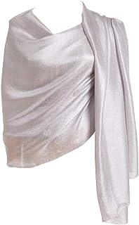 Cyzlland women's lightweight scarves fashion silk Shawls for Women(silver)