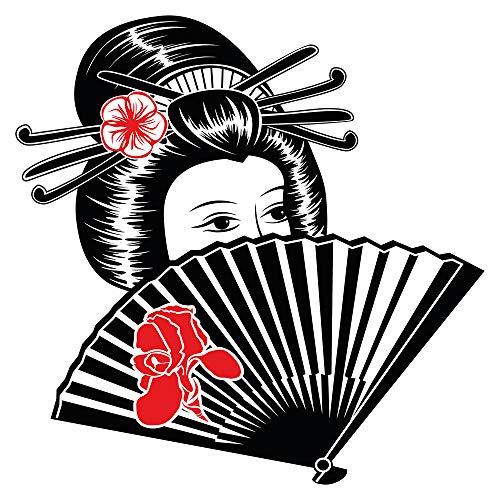 dekodino® Wandtattoo Asien Geisha mit Handfächer Wanddekoration
