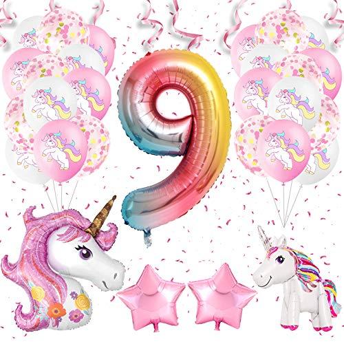 APERIL Einhorn Luftballons Nummer 9 Ballon Party Dekorationen Folie Luftballons Latex Luftballons Weiß Rosa Luftballons Alter Luftballons für Mädchen Geburtstagsfeier Hochzeit Baby Shower