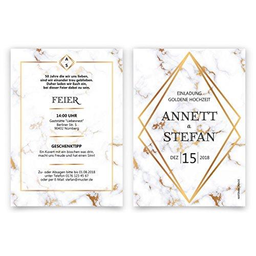 30 x Hochzeitseinladungen Goldhochzeit goldene Hochzeit Einladung individuell - Marmor