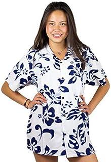V.H.O Funky Hawaiian Shirt Blouse Women Short-Sleeve Front-Pocket Hibiscus Palms Summer Navy on White