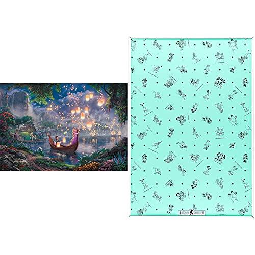 1000ピース ジグソーパズル 塔の上のラプンツェル Tangled(51x73.5cm) & アルミ製パズルフレーム ディズニー専用セーフティパネル 1000ピース用 ホワイト (51x73.5 cm)【セット買い】