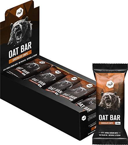 nu3 Barritas energéticas de avena – Sin aceite de palma (15x 100 gr) – Deliciosa flab jack bar – Energía vegana con 4,6g de fibra – Para montañismo, ciclismo o excursión – Sabor chispas de chocolate