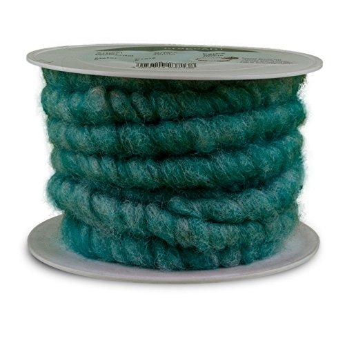 KragoArt: Wollkordel, Wollschnur 15 mm breit - 5 Meter auf Plastikrolle, Bastelwolle zum Dekorieren von Gefäßen und Gestecken, beliebt in der Floristik (türkis melange)