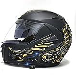Motorbike Helmet Casco de motocicleta con Bluetooth Modular Flip Up Front Casco de motocicleta Casco de moto de cara completa Ligero con visera doble Cascos de moto aprobados por DO / ECE para adultos