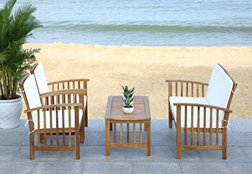 Safavieh Outdoor Collection Rocking 4 Piece Patio Set, Teak and Beige