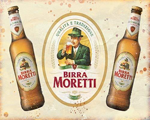 Placa de metal con diseño de cerveza italiana de Birra Moretti, diseño...