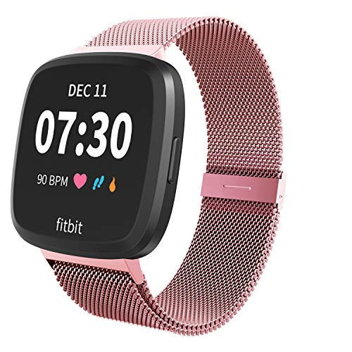 Limque Magnetic Bands Compatible with Fitbit Versa/Versa 2/Versa Lite/SE, Women Men Metal Adjustable Replacement Wristband for Fitbit Versa Smart Watch Multi-Color (Rose Gold, Small)