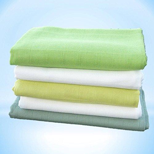 Hochwertige Baby Mullwindeln Spucktücher 70 x 70cm mit verstärktem Rand von Family-Kollektion I 5 x Baumwolle Mulltücher Ökotex Standard I Baumwollwindeln Stoffwindeln Set (Limette/Salatgrün/Grün)