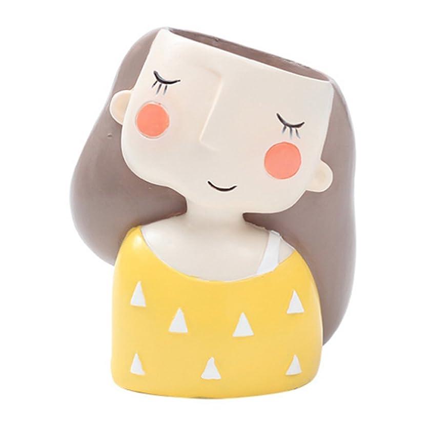 百万劇作家グローブXigeapg 可愛い女の子漫画のデザイン樹脂植物フラワーポット甘いコンテナプランター盆栽ポット植木鉢デスクトップ工芸家の装飾 イエロー