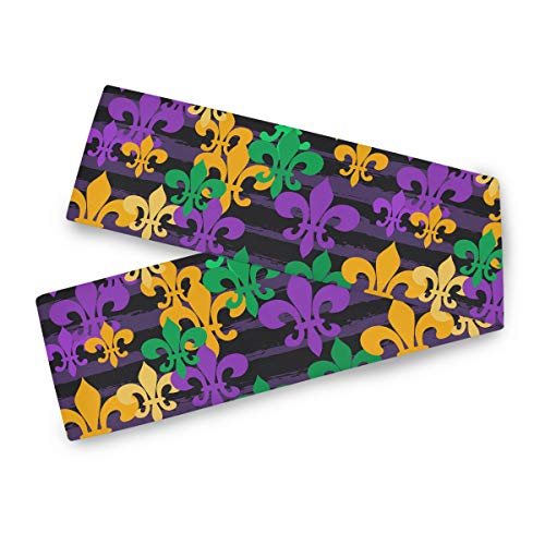 Oarencol Mardi Gras Carnival Table Runner 13x70 inch Double Sided, Colorful Persian Fleur De LYS Polyester Rectangle Table Cloth for Wedding Kitchen Party Dining Home Decor