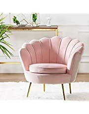 Round shaped Flower chair - Mettle legs - velvet (pink)