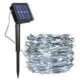 Guirnalda Luces Exterior Solar, Luces Navidad 8 Modos 120 LEDs 12M/39ft Alambre de Cobre Luz Decorativa Impermeable, para Terraza, Fiestas, Bodas, Patio, Jardines, Festivales (Blanco Frio)