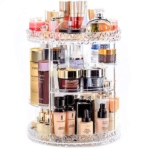 Extra Large 360 Degree Rotating Makeup Organizer, DIY Adjustable Makeup Countertop Cosmetic Storage with 6 Layer Large Capacity for Vanity, Bedroom, Bathroom, 11IN x 13.7IN (Transparent)