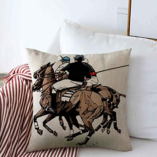 Starookc Throw Pillows Cover 20 x 20 Inches Horse Polo People Players Hand Drawing Outdoors Sports Recreation Play Action Field Mallet Animal Cushion Case Cotton Linen for Fall Home Decor