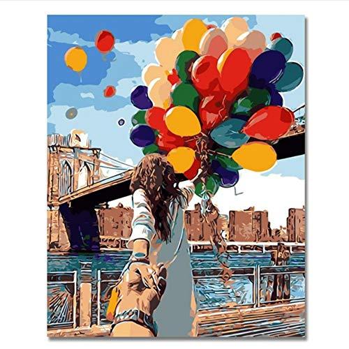 Vanzelu Romantische Olie Schilderen Door Nummers Op Canvas Diy Paar Met Ballonnen Handgeschilderd Kleurplaten Door Nummers Home Decor Festival Gift 40x60cm No Frame