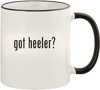 got heeler? - 11oz Colored Rim and Handle Coffee Mug, Black
