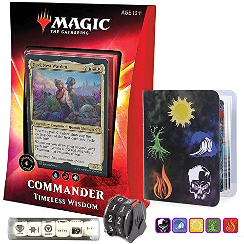 Totem World Ikoria Commander 2020 Deck Timeless Wisdom Bundle with 1 Life-Counter Spindowns, 1 Collectors Binders and 1 6pcs D6 Dice - MTG Lair of Behemoths Holiday Bundle Box Gift Set