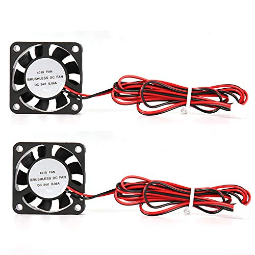2Pcs 3D Printer Fan DC Mini Quiet Cooling Fan 40X40X10mm with 100cm Cable for 3D Printer, DVR, and Other Small Appliances Series Repair Replacement (24V 0.06A)