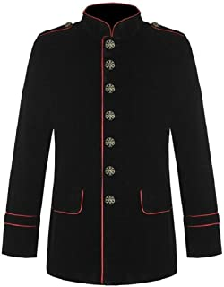Men's Gothic Steampunk Red Piping Jacket Black Parade Military Marching Band Drummer Jacket Goth VTG Style