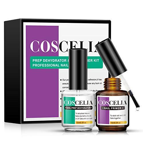 Coscelia Primer per Unghie 15ml Nail Prep Dehydrator 15ml Kit Semipermanente Unghie Professionale,Kit Unghie Nail Prep,Nail Primer per Smalto Semipermanente Unghie