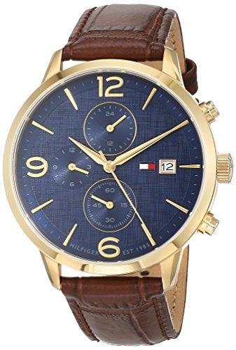 Tommy Hilfiger heren multi-wijzerplaat kwarts horloge met lederen armband 1710359