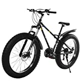 Mountain Bike Bicycle, Variable Speed Brake Bike Non-Slip Snow Bike, 26-inch Fat Tire Mountain Bike 21-Speed Bicycle High-tensile Steel Frame, Fashion Outdoor Sports City Road Bike (Black)