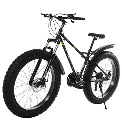 Snow Mountain Bike - 26-inch Fat Tire Mountain Bike 21-Speed Bicycle High-Tensile Steel Frame - Lightweight and Durable Gift for Friend