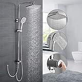 Duschsystem ohne Armatur, WOOHSE Duscharmatur Regendusche mit Wandhalterung, Handbrause mit 3 Strahlen, Verstellbarer Duschstange, Dusche Duschsäule Set Duschset für Badezimmer, Lebenslange Garantie