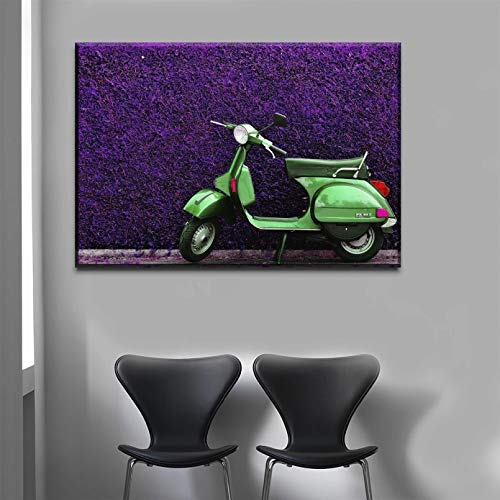 DIARQT Cuadros Decorativos Cuadro de Lienzo, Arte de Pared, imágenes de decoración del hogar, 1 Pieza, póster de vehículo de Scooter para Sala de Estar, Tipo Impreso en HD-20x28inch