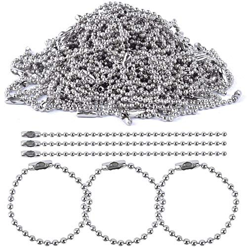 BronaGrand 100pcs 150mm Long Bead Connector Clasp 2.4 mm Diameter Ball Chains Keychain Tag Key Rings