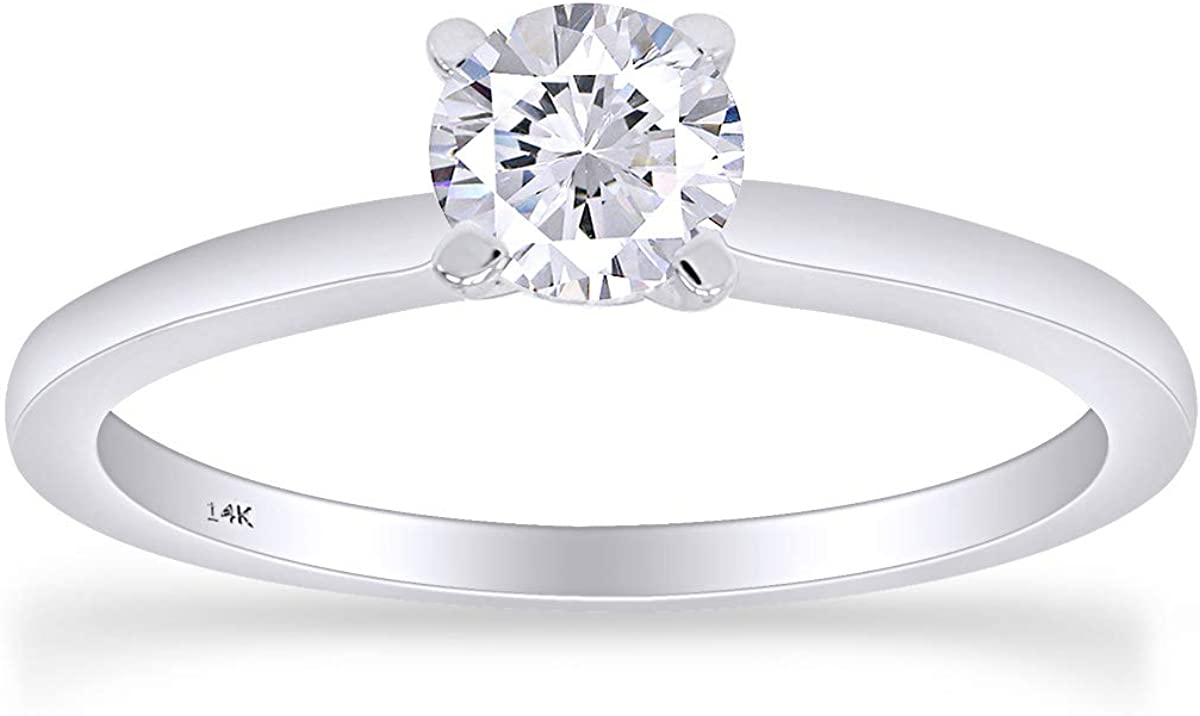 1/4 Carat CT 14K Solid Gold Round Cut Natural Diamond Solitaire Engagement Ring (G-H Color, I2 - I3 Clarity, 0.25 Cttw)