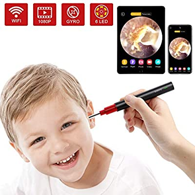 Ear Camera, 1080P FHD Wireless Ear Wax Removal Endoscope, Super Light Lens WiFi Ear Endoscope with 6 LED Lights, Ear Otoscope Camera with 3-Axis Gyroscope, Compatible with Smartphone and Tablet.