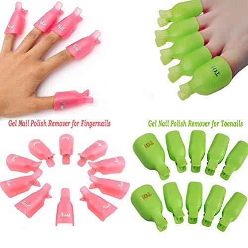 20 piezas acrílico uña dedo arte clavo empapa clip