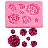 FantasyBear Rose Silicone Mold,Small Soap Clay Fimo Chocolate Sugarcraft Baking Tool DIY Cake Silicone Mold for Baby Shower Party Birthday Party Cake Decoration (Small Rose Mold)