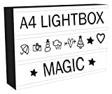 Caja de luz LED de cine con 96 letras y números de luces Emoji y cable USB, elegante, regalo perfecto para todas las ocasiones, bares, fotos.