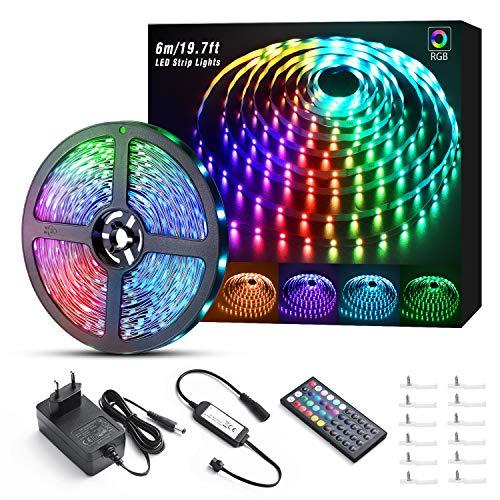 Qedertek LED Strip 6m, RGB LED Streifen Lichtband mit 44-keys RF Fernbedienung, 5050 LED Strip Farbwechsel mit Netzteil, LED Band Leiste für Zuhause, Anwendung für Schlafzimmer, TV, Schrankdeko