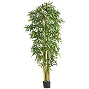 Nearly Natural 7′ Big Bamboo Silk Artificial Trees, 84in, Green