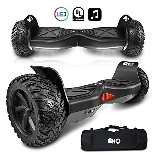cho All Terrain Rugged 8.5' Inch Wheels Hoverboard Off-Road Smart Self Balancing Electric Scooter Speaker LED Lights UL2272 (Off Road - Black)