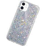 Funda Compatible con iPhone 11 6.1.Ultra Fina Brillo Silicona Suave TPU Bling Glitter Carcasa Case Purpurina Brillantes Diamante Ligero Cubierta Delgado Transparente Protectora Bumper,Plata