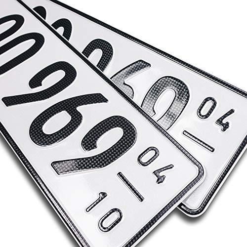 schildEVO 2 Carbon Kfz Saison Kennzeichen | OFFIZIELL amtliche Nummernschilder | DIN-Zertifiziert – EU Wunschkennzeichen mit individueller Prägung | Autokennzeichen