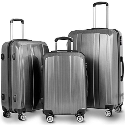 Goplus Luggage Set 3 Piece Lightweight Luggage Hardside Expandable Travel Suitcase w/TSA Lock (Grey)