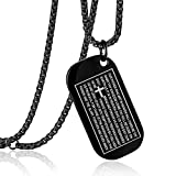 Men's Stainless Steel Dog Tag Lord's Prayer Cross Pendant Necklace With 24 Inch Chain Polished Black(Black)