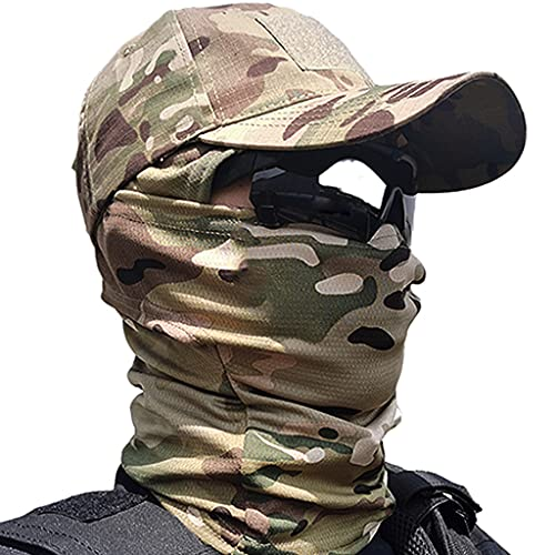 Tactical Hat Army Camo Cap, Gorra de Béisbol Deportiva Unisex Verano para Correr, con Pasamontañas de Secado Rápido, para Airsoft Paintball Climb Camping Caza Pesca Al Aire Libre,CP Sets