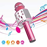 Wireless Bluetooth Karaoke Microphone,4 in 1 Portable Handheld Mic Speaker for Company Meeting Kids Home KTV Party,Compatible with Android & iOS,Perfect Thanksgiving & Christmas Gift(Pink)