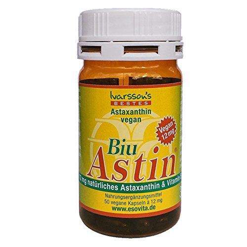 Astaxanthin - aus Hawaii - BiuAstin vegan - 50 Kaps. mit 12 mg natürlichem Astaxanthin - Das Original: Ivarsson\'s BiuAstin
